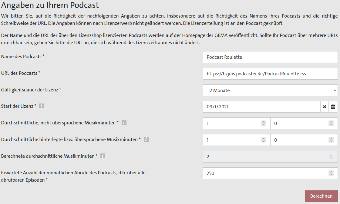 Screenshot GEMA Lizenzierung Podcast