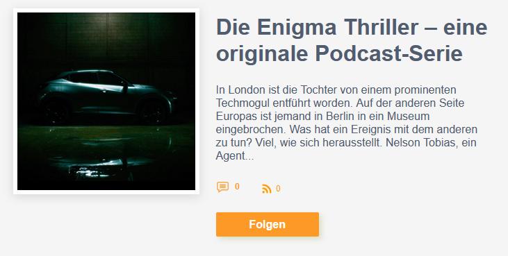 Screenshot Nissan Enigma Thriller Podcast
