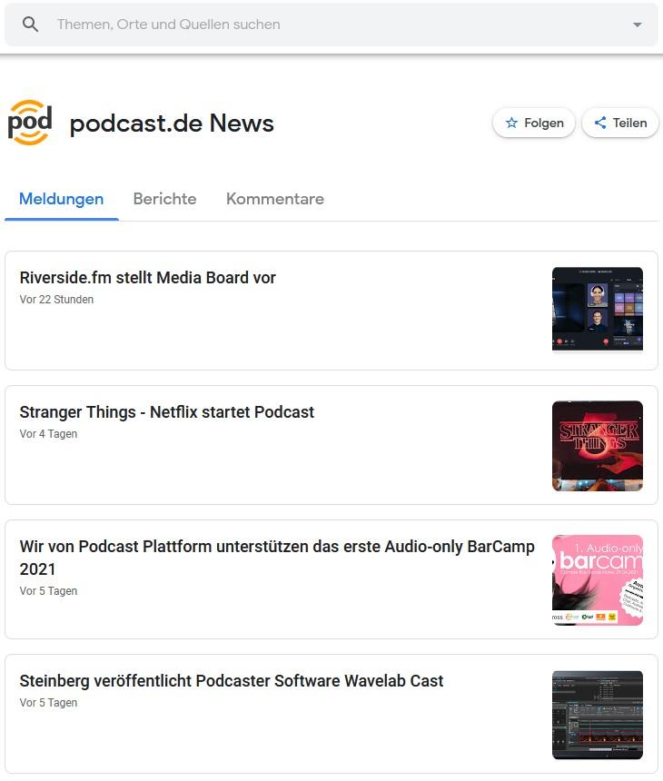 Screenshot von podcast.de auf Google News