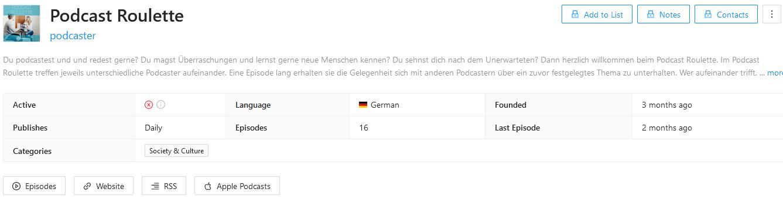 Metadaten von Podcast Roulette auf rephonic